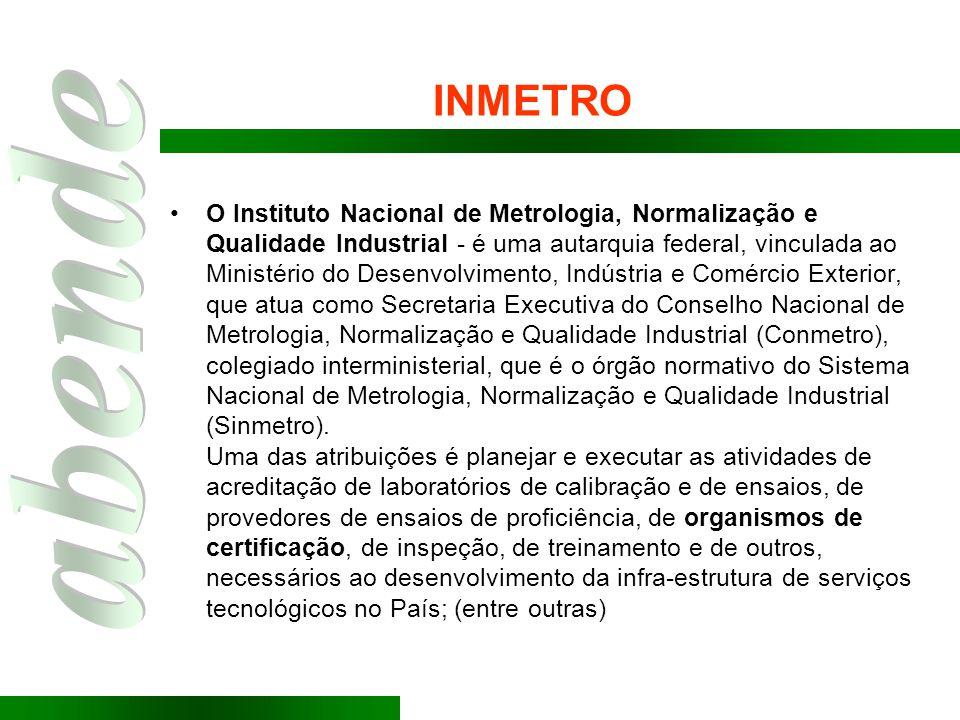 INMETRO O Instituto Nacional de Metrologia, Normalização e Qualidade Industrial - é uma autarquia federal, vinculada ao Ministério do Desenvolvimento,