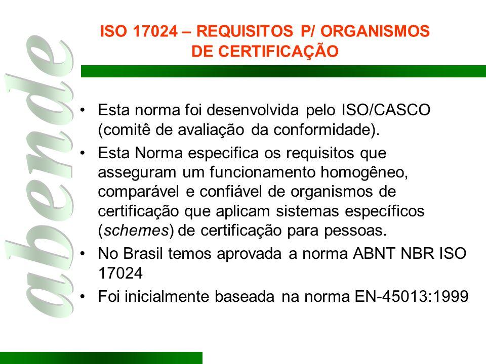 ISO 17024 – REQUISITOS P/ ORGANISMOS DE CERTIFICAÇÃO Esta norma foi desenvolvida pelo ISO/CASCO (comitê de avaliação da conformidade). Esta Norma espe