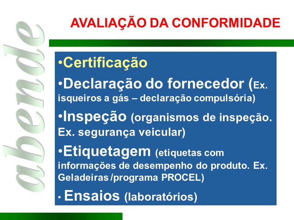 Certificação Declaração do fornecedor ( Ex. isqueiros a gás – declaração compulsória) Inspeção (organismos de inspeção. Ex. segurança veicular) Etique