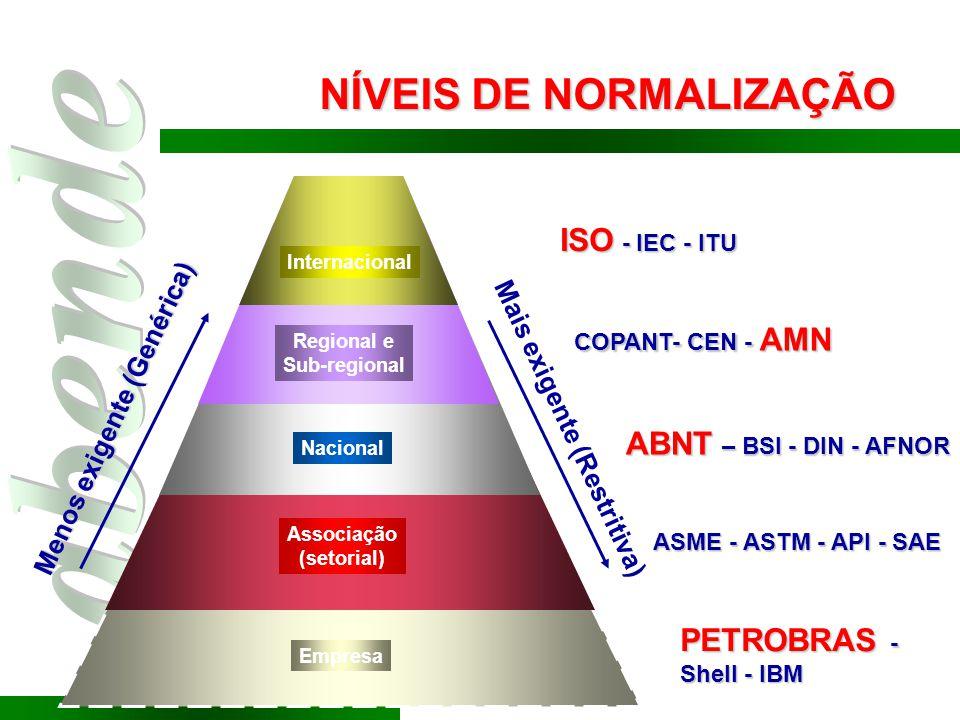 Empresa Associação (setorial) Nacional Regional e Sub-regional Internacional ISO - IEC - ITU COPANT- CEN - AMN ABNT – BSI - DIN - AFNOR ASME - ASTM -
