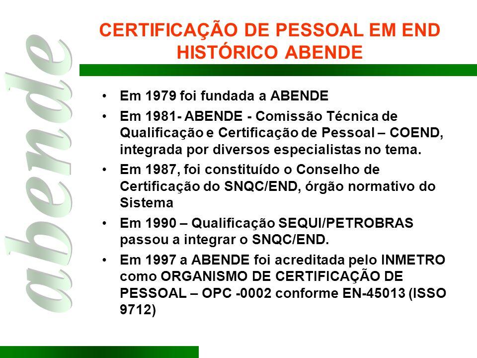 CERTIFICAÇÃO DE PESSOAL EM END HISTÓRICO ABENDE Em 1979 foi fundada a ABENDE Em 1981- ABENDE - Comissão Técnica de Qualificação e Certificação de Pess