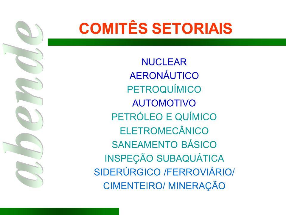 NUCLEAR AERONÁUTICO PETROQUÍMICO AUTOMOTIVO PETRÓLEO E QUÍMICO ELETROMECÂNICO SANEAMENTO BÁSICO INSPEÇÃO SUBAQUÁTICA SIDERÚRGICO /FERROVIÁRIO/ CIMENTE