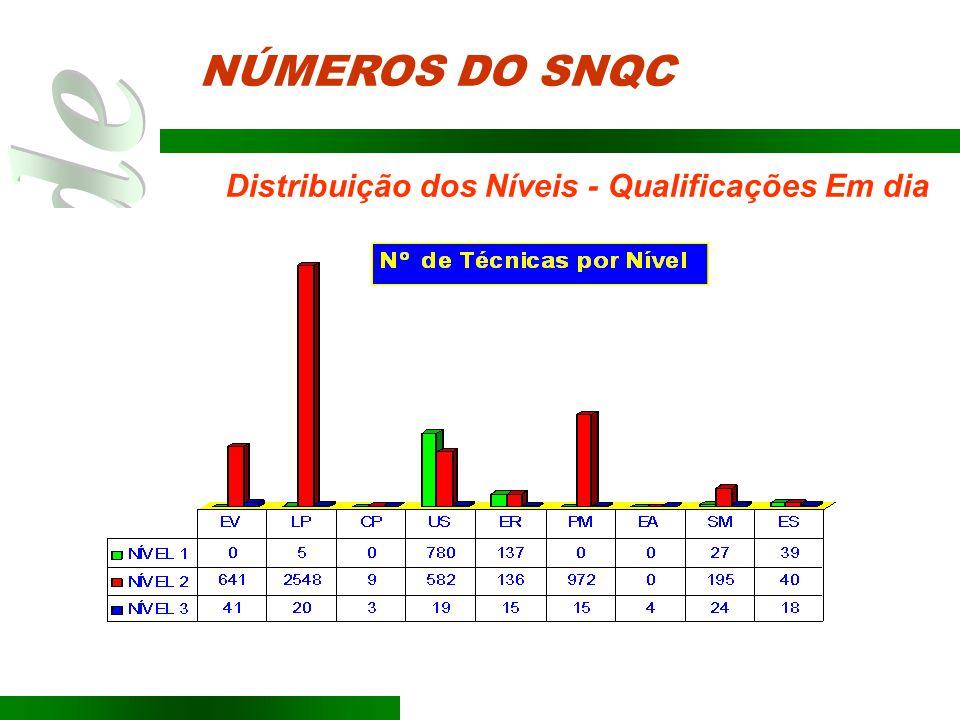 Distribuição dos Níveis - Qualificações Em dia NÚMEROS DO SNQC