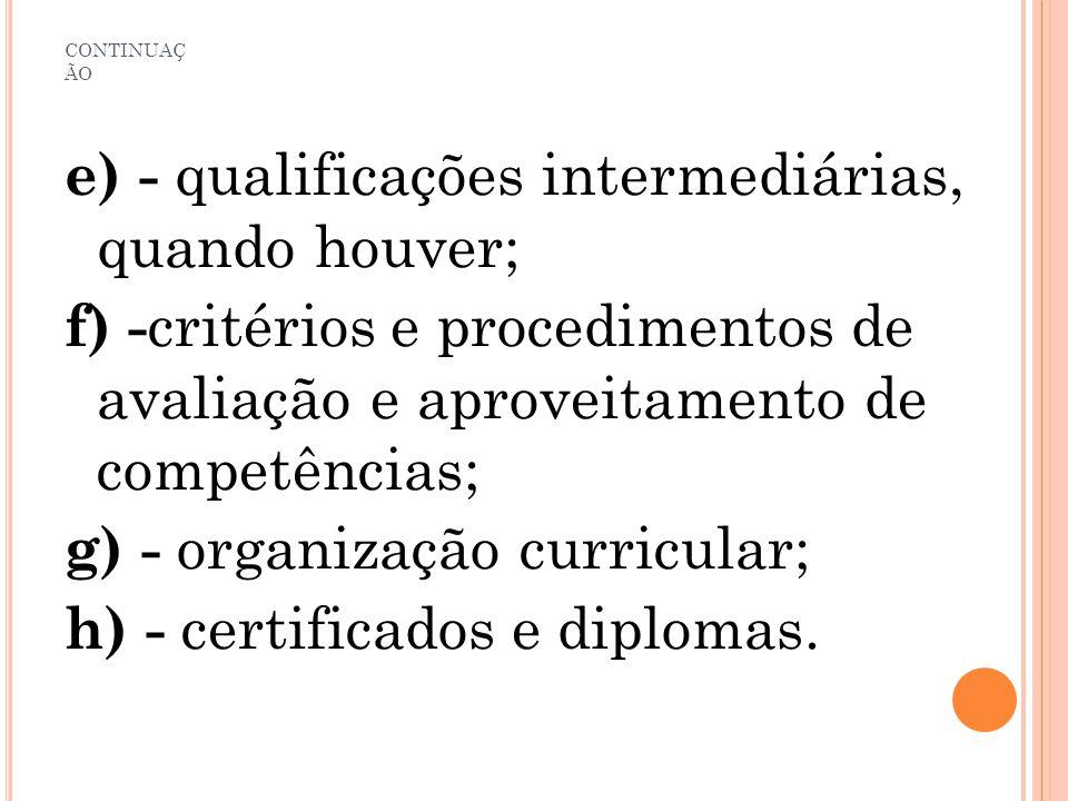 CONTINUAÇ ÃO e) - qualificações intermediárias, quando houver; f) - critérios e procedimentos de avaliação e aproveitamento de competências; g) - orga