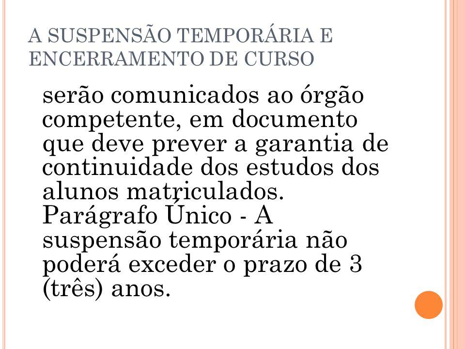A SUSPENSÃO TEMPORÁRIA E ENCERRAMENTO DE CURSO serão comunicados ao órgão competente, em documento que deve prever a garantia de continuidade dos estu