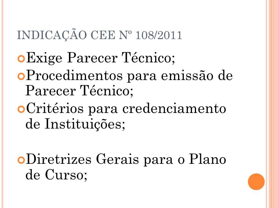 INDICAÇÃO CEE Nº 108/2011 Exige Parecer Técnico; Procedimentos para emissão de Parecer Técnico; Critérios para credenciamento de Instituições; Diretri