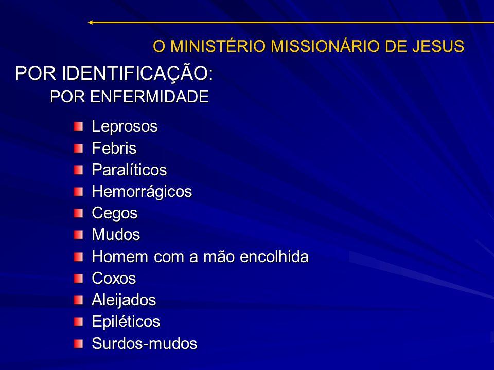 O MINISTÉRIO MISSIONÁRIO DE JESUS LeprososFebrisParalíticosHemorrágicosCegosMudos Homem com a mão encolhida CoxosAleijadosEpiléticosSurdos-mudos POR I
