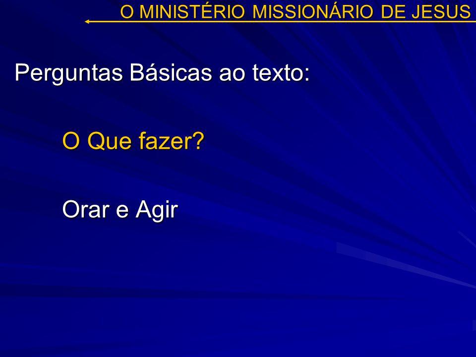 O MINISTÉRIO MISSIONÁRIO DE JESUS Perguntas Básicas ao texto: O Que fazer? Orar e Agir