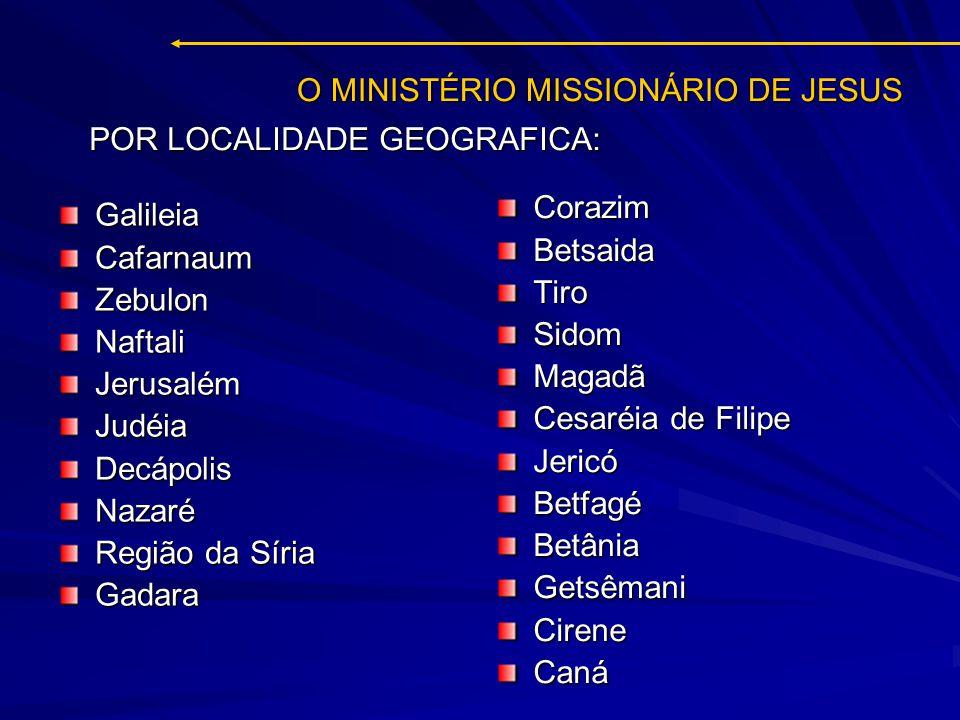 O MINISTÉRIO MISSIONÁRIO DE JESUS GalileiaCafarnaumZebulonNaftaliJerusalémJudéiaDecápolisNazaré Região da Síria Gadara CorazimBetsaidaTiroSidomMagadã
