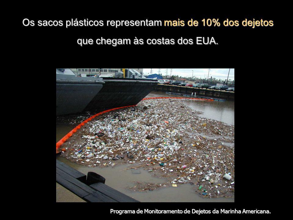 Os sacos plásticos representam mais de 10% dos dejetos que chegam às costas dos EUA.