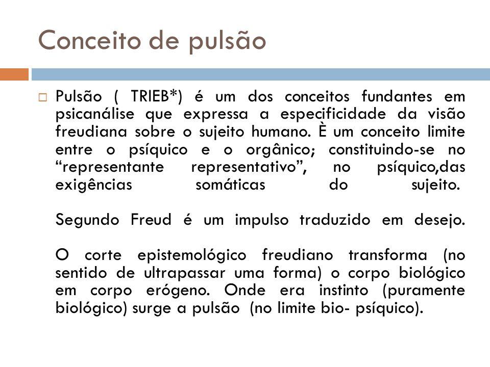 Conceito de pulsão Pulsão ( TRIEB*) é um dos conceitos fundantes em psicanálise que expressa a especificidade da visão freudiana sobre o sujeito humano.