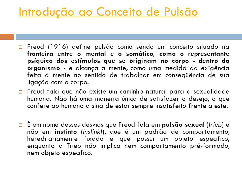 Introdução ao Conceito de Pulsão Freud (1916) define pulsão como sendo um conceito situado na fronteira entre o mental e o somático, como o representa
