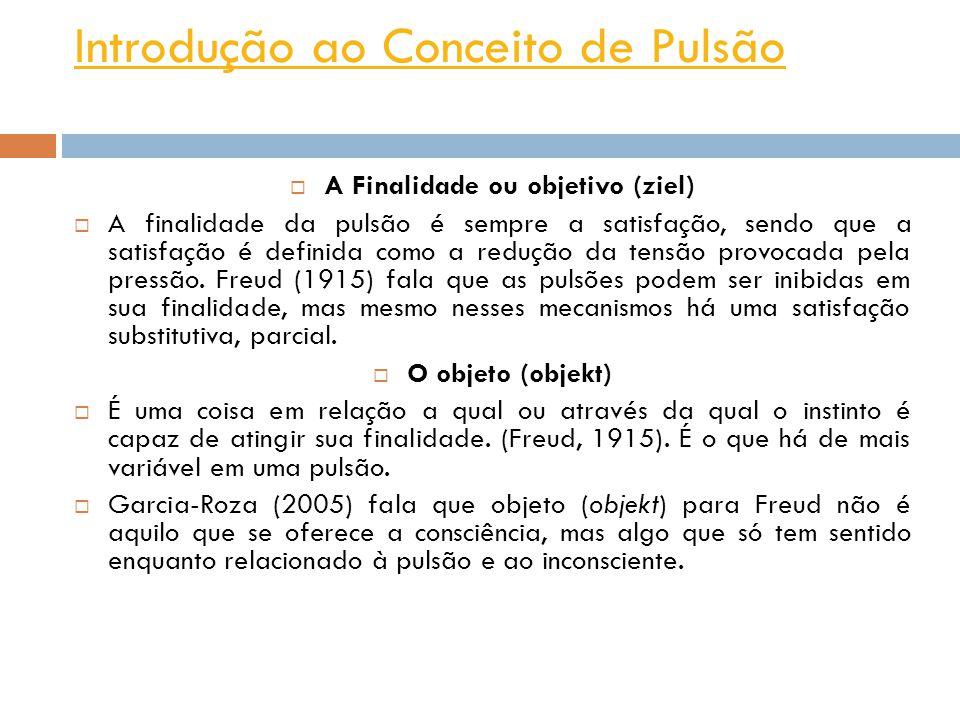 Introdução ao Conceito de Pulsão A Finalidade ou objetivo (ziel) A finalidade da pulsão é sempre a satisfação, sendo que a satisfação é definida como a redução da tensão provocada pela pressão.