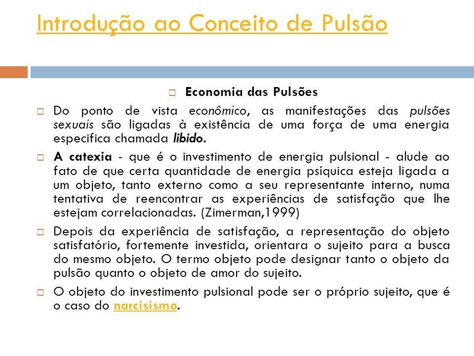 Introdução ao Conceito de Pulsão Economia das Pulsões Do ponto de vista econômico, as manifestações das pulsões sexuais são ligadas à existência de uma força de uma energia especifica chamada libido.