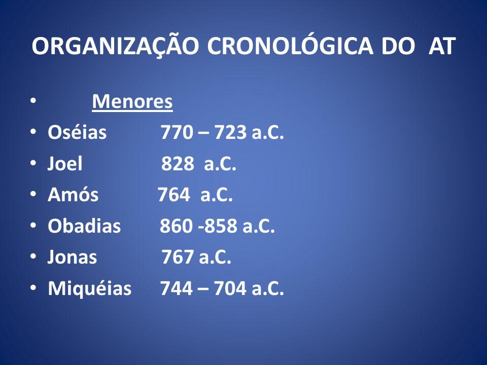 ORGANIZAÇÃO CRONOLÓGICA DO AT Menores Oséias 770 – 723 a.C.