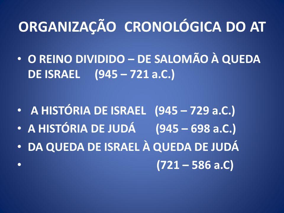 ORGANIZAÇÃO CRONOLÓGICA DO AT O REINO DIVIDIDO – DE SALOMÃO À QUEDA DE ISRAEL (945 – 721 a.C.) A HISTÓRIA DE ISRAEL (945 – 729 a.C.) A HISTÓRIA DE JUDÁ (945 – 698 a.C.) DA QUEDA DE ISRAEL À QUEDA DE JUDÁ (721 – 586 a.C)