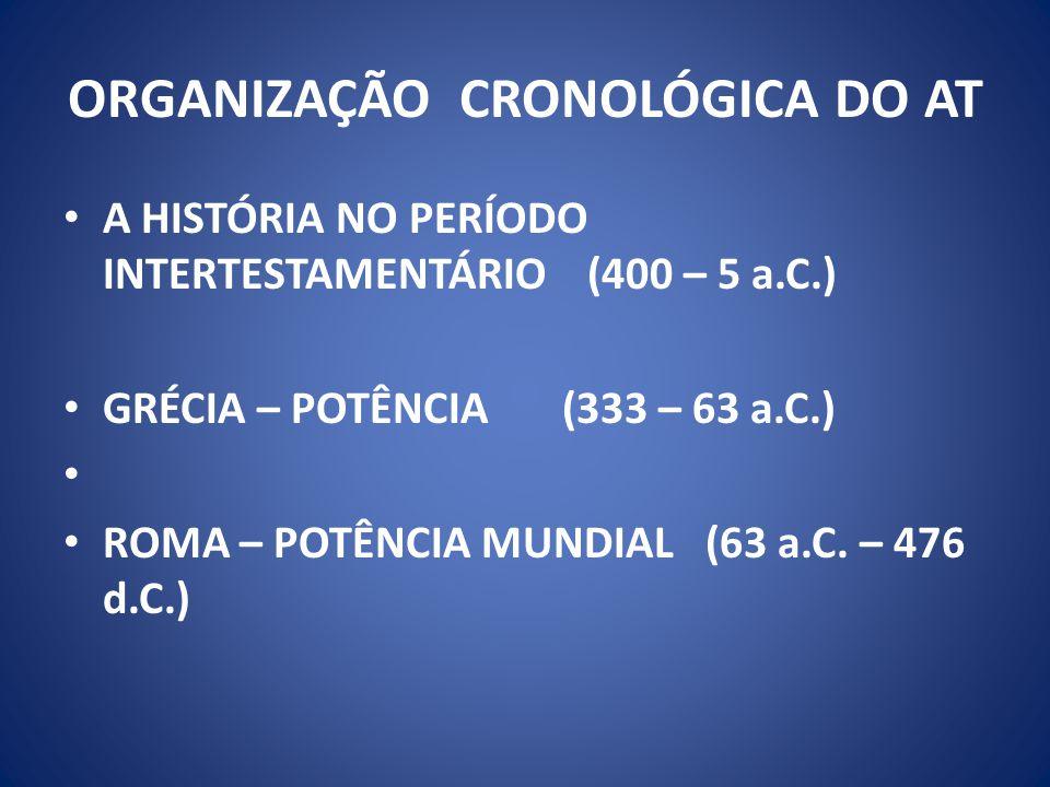 ORGANIZAÇÃO CRONOLÓGICA DO AT A HISTÓRIA NO PERÍODO INTERTESTAMENTÁRIO (400 – 5 a.C.) GRÉCIA – POTÊNCIA (333 – 63 a.C.) ROMA – POTÊNCIA MUNDIAL (63 a.C.
