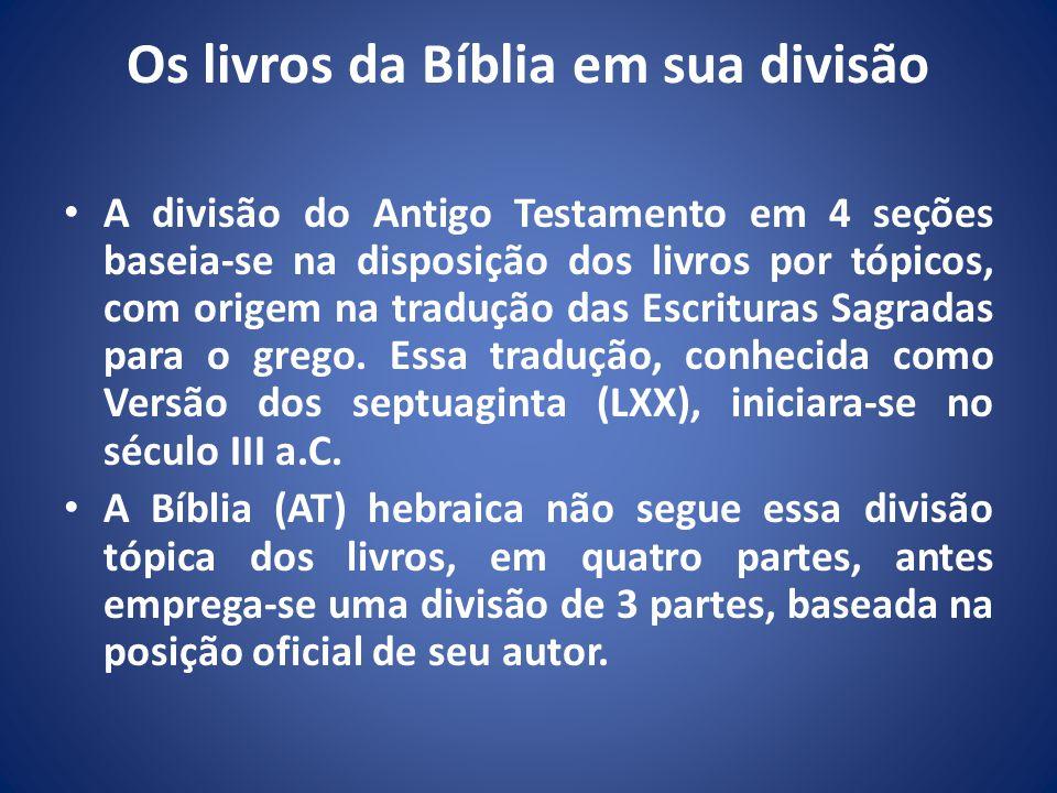 Os livros da Bíblia em sua divisão A divisão do Antigo Testamento em 4 seções baseia-se na disposição dos livros por tópicos, com origem na tradução das Escrituras Sagradas para o grego.