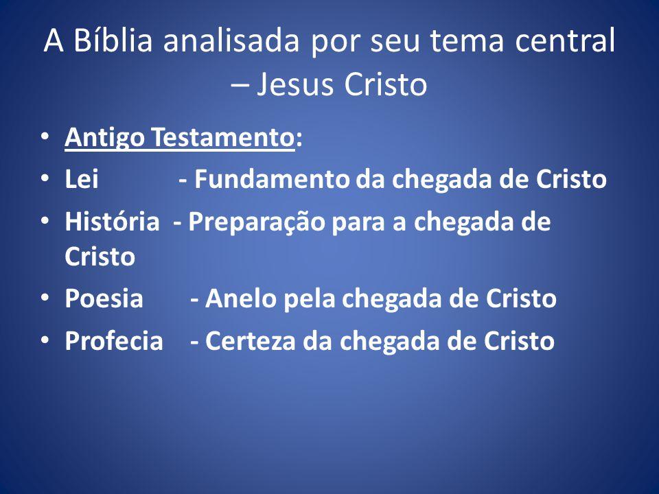 A Bíblia analisada por seu tema central – Jesus Cristo Antigo Testamento: Lei - Fundamento da chegada de Cristo História - Preparação para a chegada de Cristo Poesia - Anelo pela chegada de Cristo Profecia - Certeza da chegada de Cristo