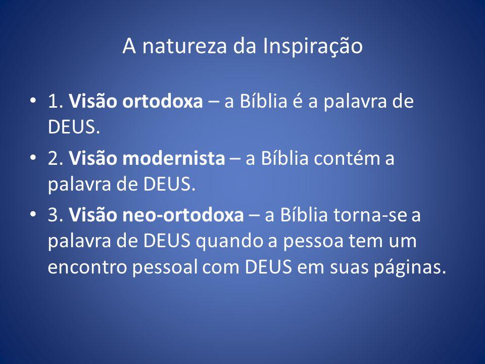 A natureza da Inspiração 1.Visão ortodoxa – a Bíblia é a palavra de DEUS.