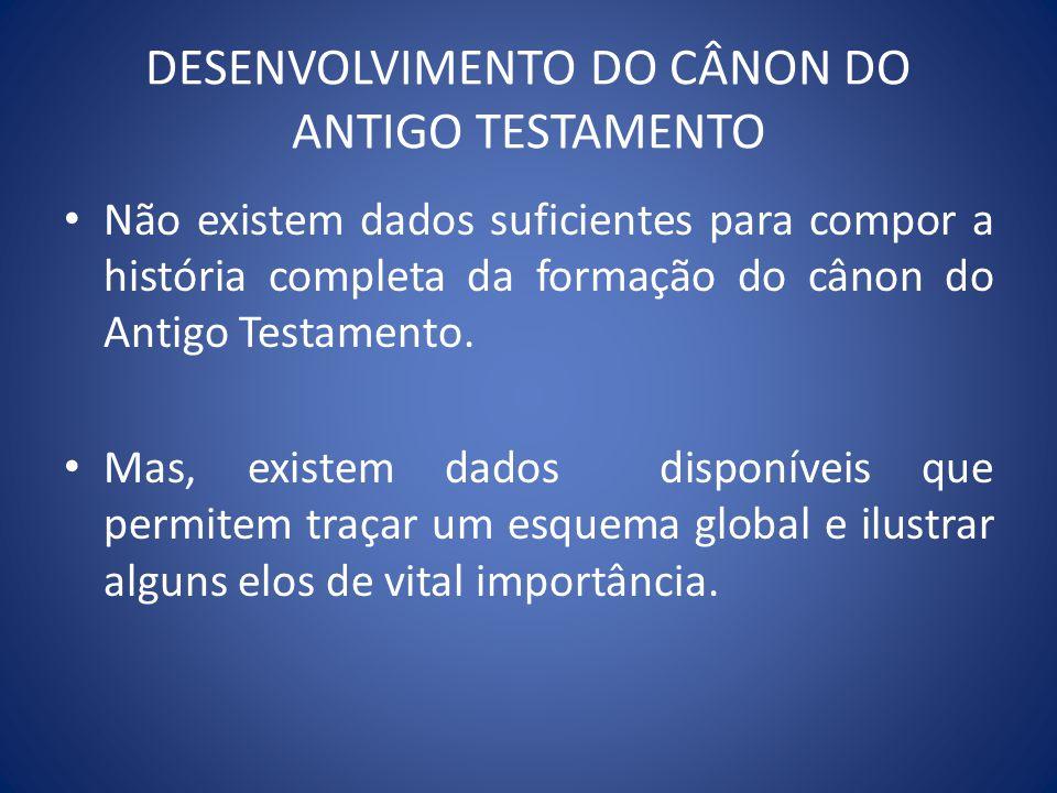 DESENVOLVIMENTO DO CÂNON DO ANTIGO TESTAMENTO Não existem dados suficientes para compor a história completa da formação do cânon do Antigo Testamento.