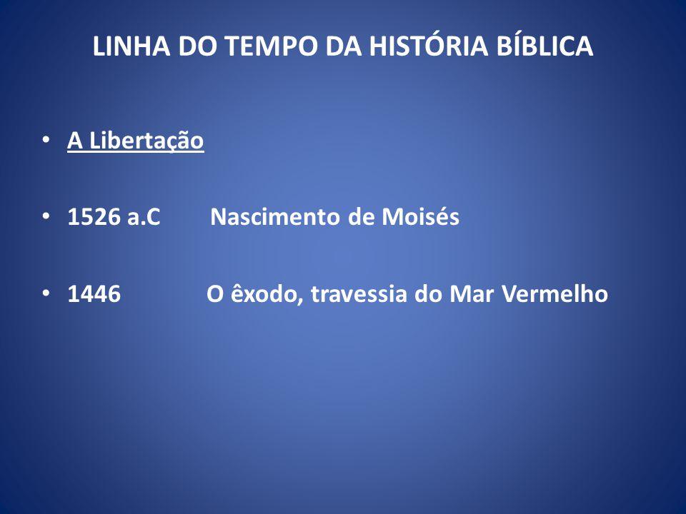 LINHA DO TEMPO DA HISTÓRIA BÍBLICA A Libertação 1526 a.C Nascimento de Moisés 1446 O êxodo, travessia do Mar Vermelho