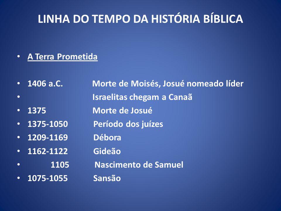 LINHA DO TEMPO DA HISTÓRIA BÍBLICA A Terra Prometida 1406 a.C.