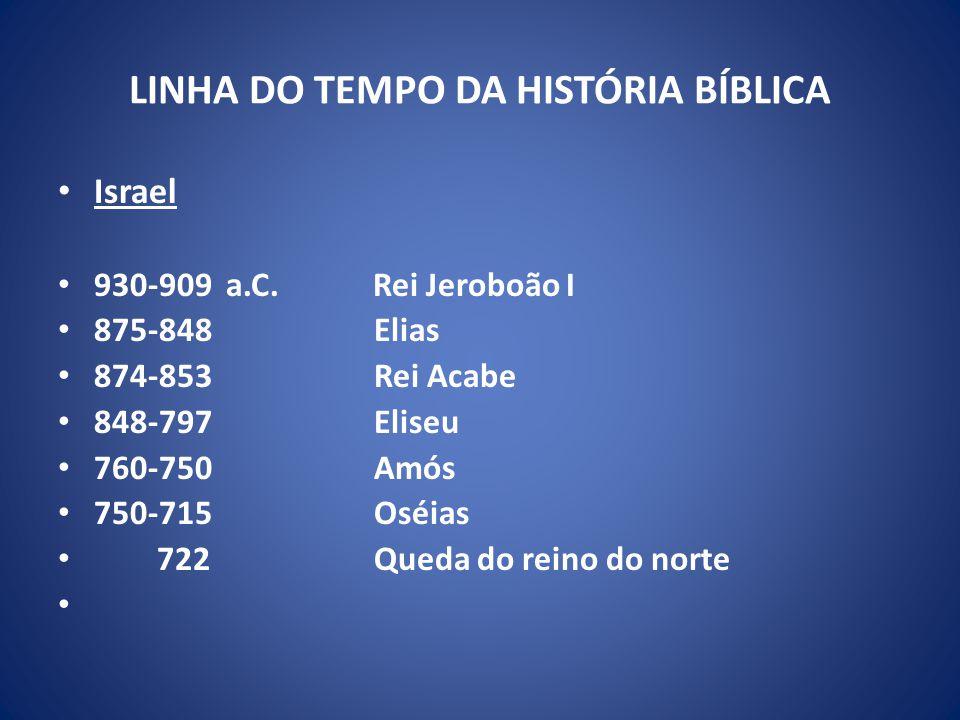 LINHA DO TEMPO DA HISTÓRIA BÍBLICA Israel 930-909 a.C.
