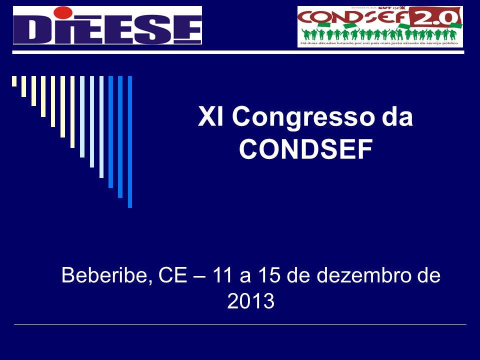 XI Congresso da CONDSEF Beberibe, CE – 11 a 15 de dezembro de 2013