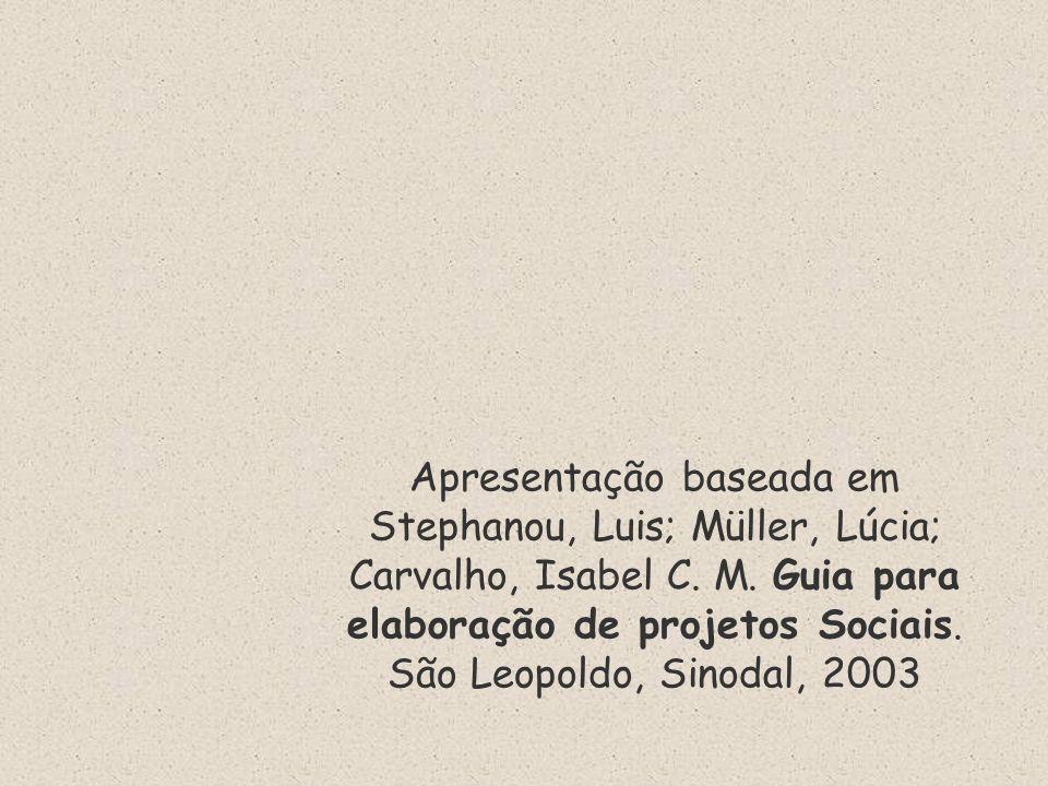 Apresentação baseada em Stephanou, Luis; Müller, Lúcia; Carvalho, Isabel C. M. Guia para elaboração de projetos Sociais. São Leopoldo, Sinodal, 2003
