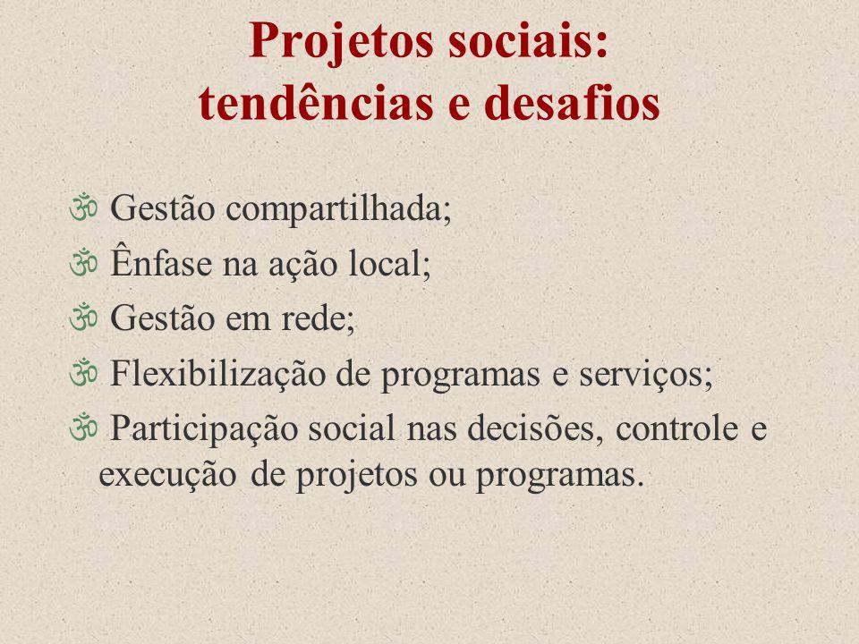 Projetos sociais: tendências e desafios \ Gestão compartilhada; \ Ênfase na ação local; \ Gestão em rede; \ Flexibilização de programas e serviços; \
