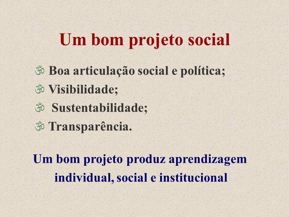 Um bom projeto social \ Boa articulação social e política; \ Visibilidade; \ Sustentabilidade; \ Transparência. Um bom projeto produz aprendizagem ind