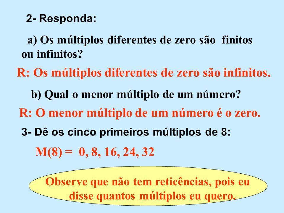 Exercício 1 - Dê os múltiplos de: M(0) = M(1) = M(2) = M(5) = M(6) = M(7) = 0 0, 1, 2, 3, 4, 5, 6, 7, 8, 9, 10,...