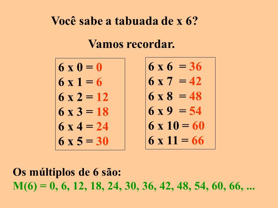 Agora, me dê os múltiplos de 5. Tenho que pensar na tabuada de 5. 5 x 0 = 0 5 x 1 = 5 5 x 2 = 10 5 x 3 = 15 5 x 4 = 20 5 x 5 = 25 5 x 6 = 30 5 x 7 = 3