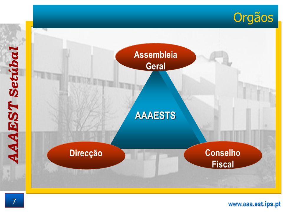 AAAEST Setúbal www.aaa.est.ips.pt 7 Orgãos AAAESTS Assembleia Geral Conselho Fiscal Direcção