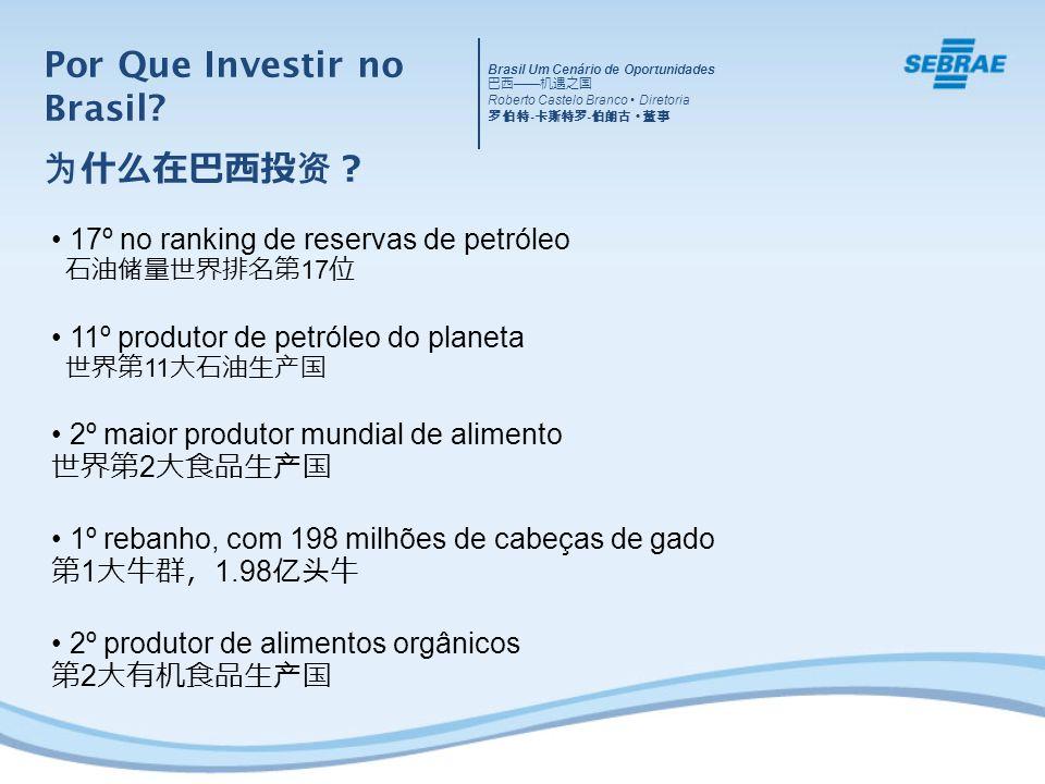 17º no ranking de reservas de petróleo 17 11º produtor de petróleo do planeta 11 2º maior produtor mundial de alimento 2 1º rebanho, com 198 milhões de cabeças de gado 1 1.98 2º produtor de alimentos orgânicos 2 Por Que Investir no Brasil.