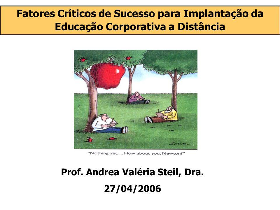 (3) Diagnosticar a Cultura Organizacional Implantação da educação a distância = Mudança Organizacional Uma das principais variáveis influenciadoras do sucesso ou fracasso na operacionalização de mudanças organizacionais Cultura organizacional