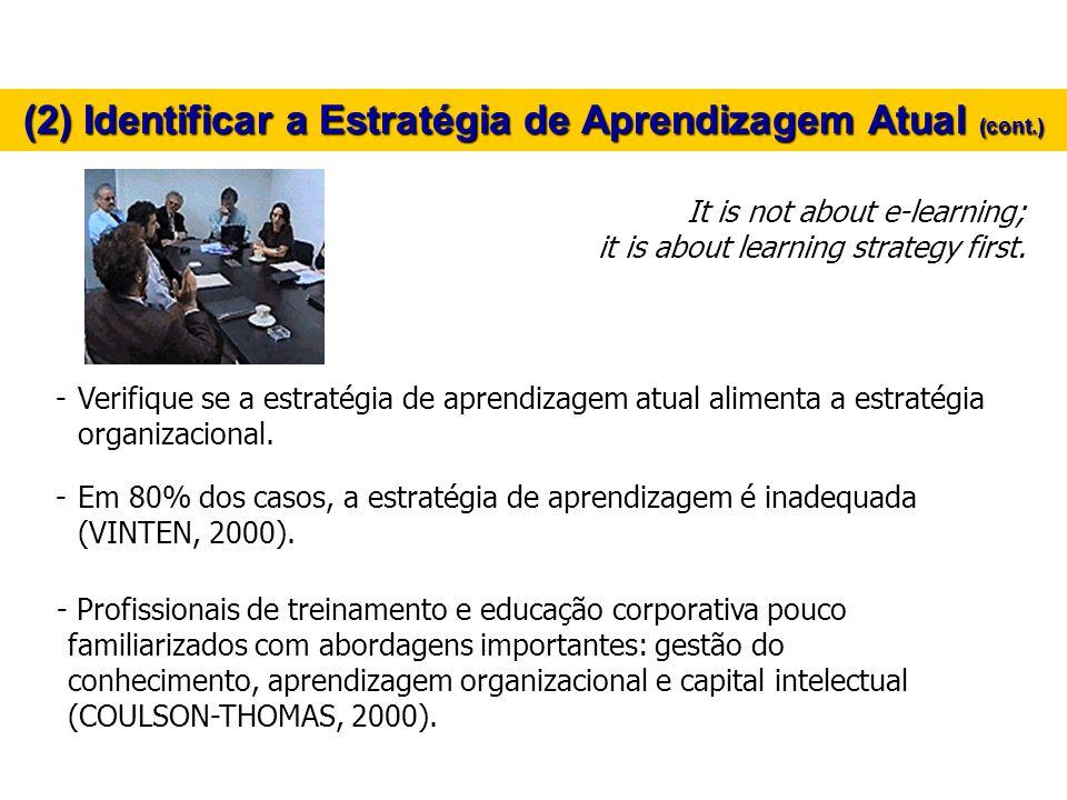 -Verifique se a estratégia de aprendizagem atual alimenta a estratégia organizacional. -Em 80% dos casos, a estratégia de aprendizagem é inadequada (V