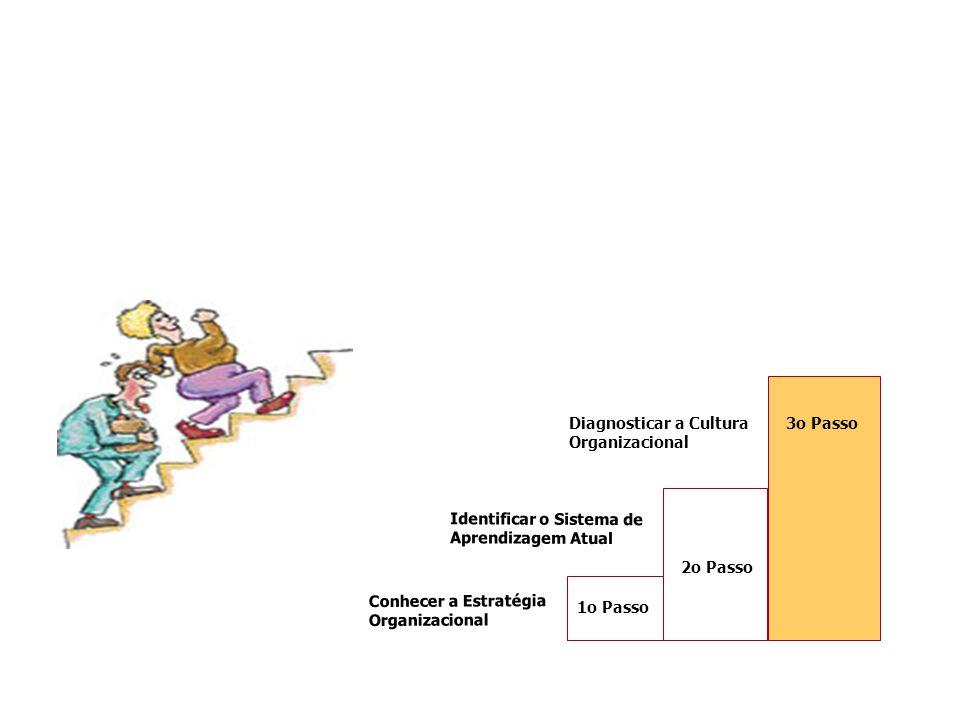 3o PassoDiagnosticar a Cultura Organizacional Conhecer a Estratégia Organizacional 1o Passo Identificar o Sistema de Aprendizagem Atual 2o Passo