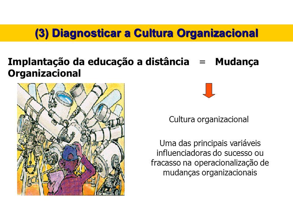 (3) Diagnosticar a Cultura Organizacional Implantação da educação a distância = Mudança Organizacional Uma das principais variáveis influenciadoras do