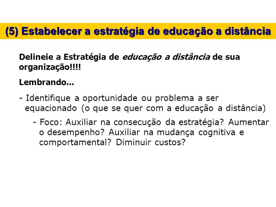 (5) Estabelecer a estratégia de educação a distância Delineie a Estratégia de educação a distância de sua organização!!!! Lembrando... - Identifique a