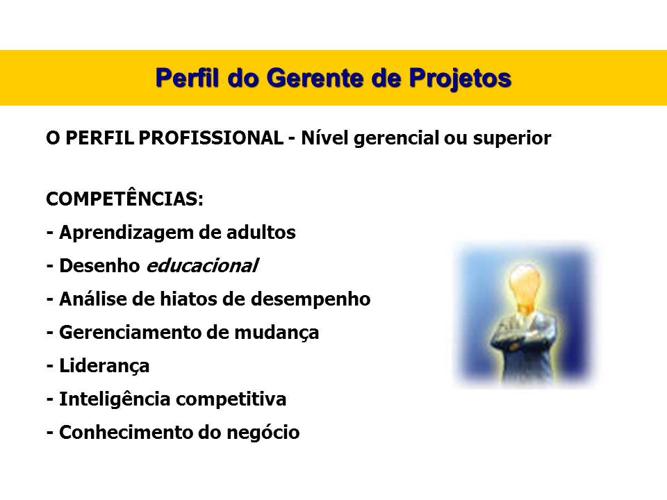 Perfil do Gerente de Projetos O PERFIL PROFISSIONAL - Nível gerencial ou superior COMPETÊNCIAS: - Aprendizagem de adultos - Desenho educacional - Anál