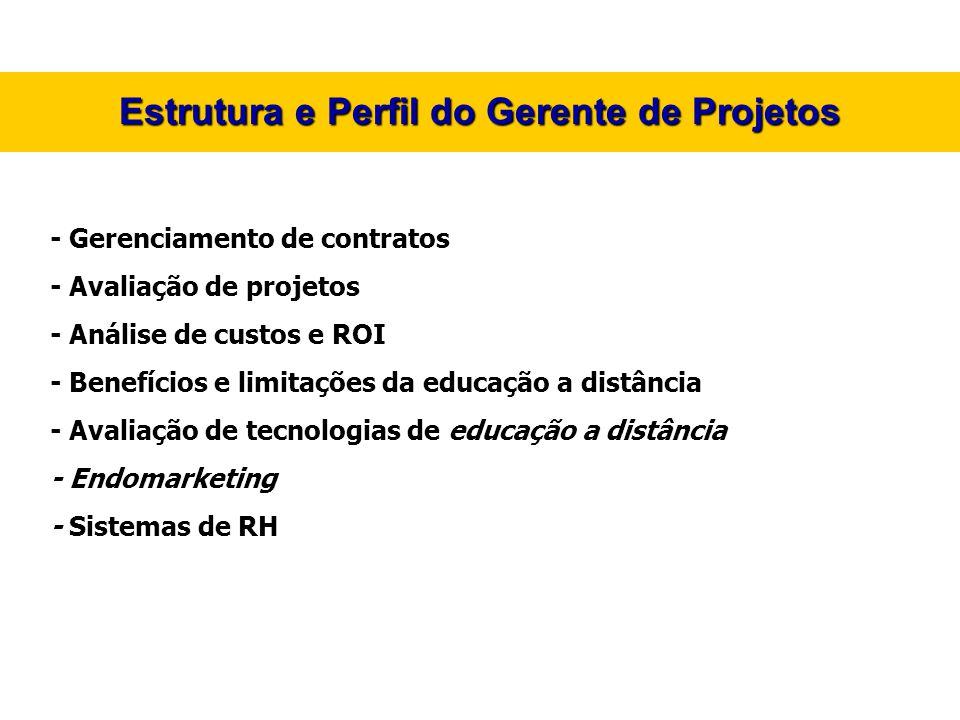 Estrutura e Perfil do Gerente de Projetos - Gerenciamento de contratos - Avaliação de projetos - Análise de custos e ROI - Benefícios e limitações da