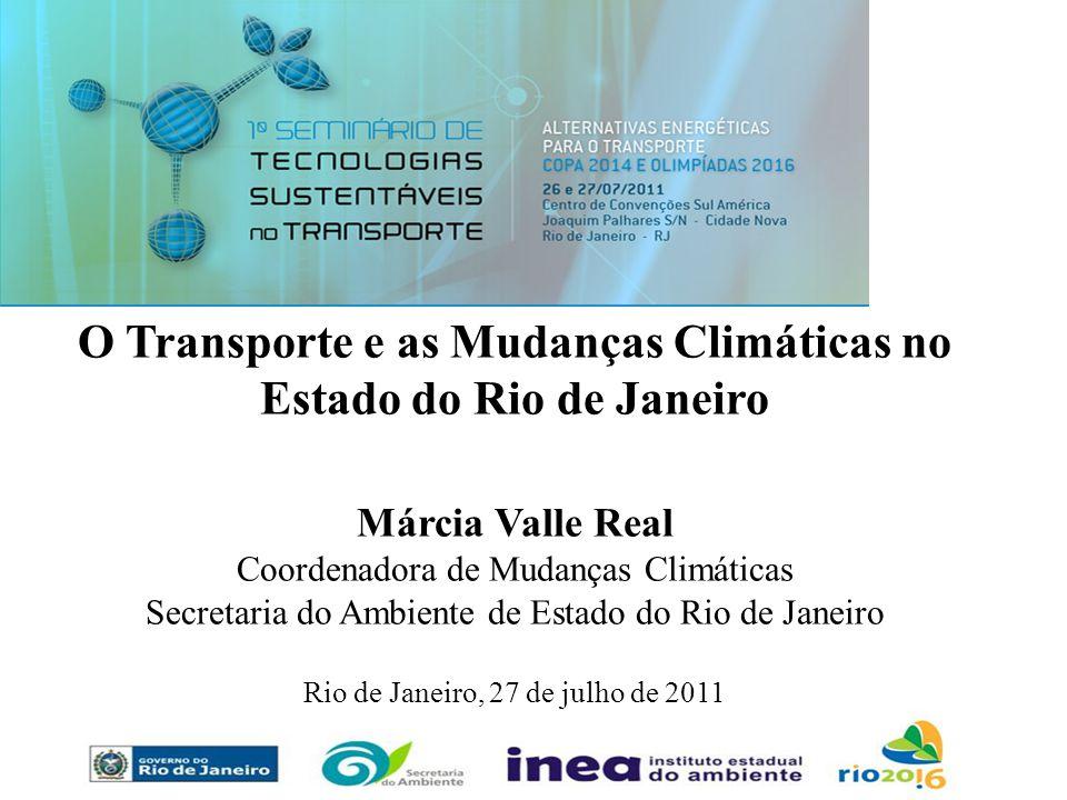 O Transporte e as Mudanças Climáticas no Estado do Rio de Janeiro Márcia Valle Real Coordenadora de Mudanças Climáticas Secretaria do Ambiente de Esta