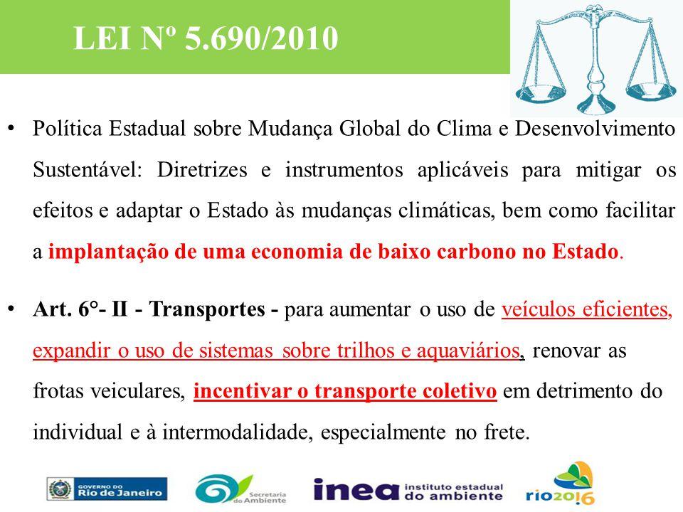 LEI Nº 5.690/2010 Política Estadual sobre Mudança Global do Clima e Desenvolvimento Sustentável: Diretrizes e instrumentos aplicáveis para mitigar os