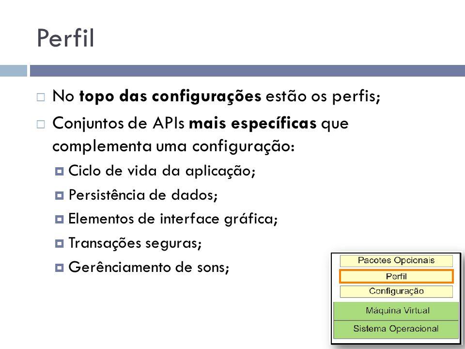 Perfil No topo das configurações estão os perfis; Conjuntos de APIs mais específicas que complementa uma configuração: Ciclo de vida da aplicação; Per