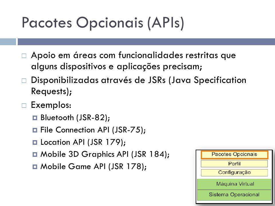 Pacotes Opcionais (APIs) Apoio em áreas com funcionalidades restritas que alguns dispositivos e aplicações precisam; Disponibilizadas através de JSRs