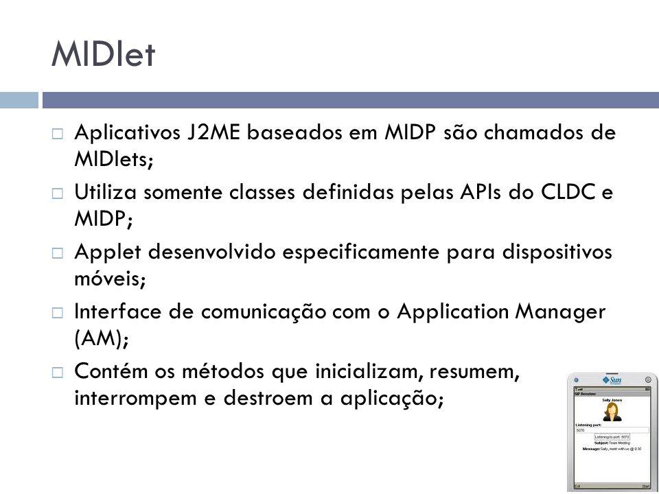 MIDlet Aplicativos J2ME baseados em MIDP são chamados de MIDlets; Utiliza somente classes definidas pelas APIs do CLDC e MIDP; Applet desenvolvido esp