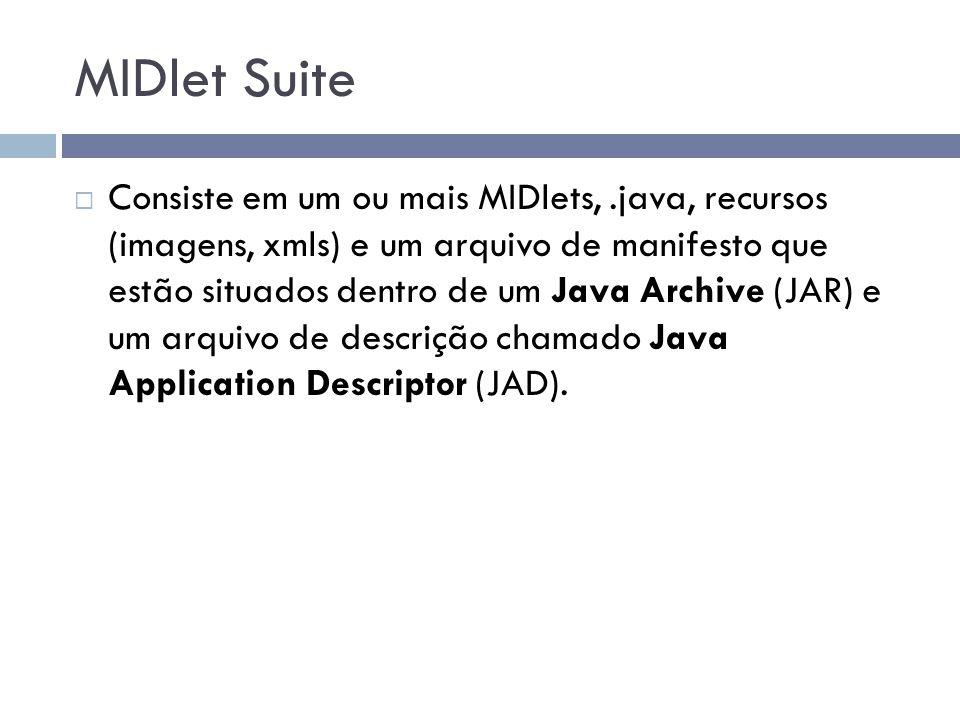 MIDlet Suite Consiste em um ou mais MIDlets,.java, recursos (imagens, xmls) e um arquivo de manifesto que estão situados dentro de um Java Archive (JA