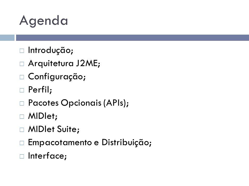 Agenda Introdução; Arquitetura J2ME; Configuração; Perfil; Pacotes Opcionais (APIs); MIDlet; MIDlet Suite; Empacotamento e Distribuição; Interface;
